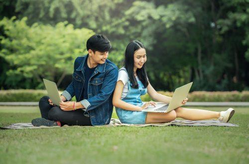 jovens no parque lendo no computador