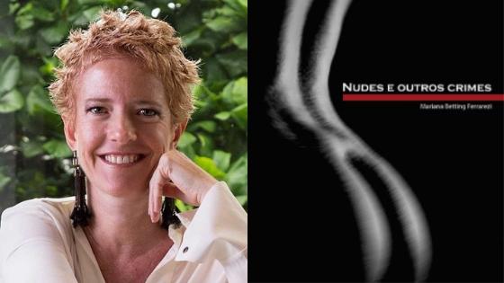 foto-da-autora-sorrindo-cabelo-curto-apoiada-na-mao-ao-lado-de-capa-do-livro-nudes-e-outros-crimes