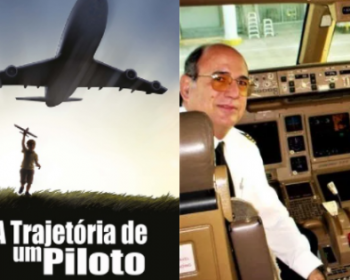 na-esquerda-o-autor-geraldo-souza-pinto-em-uma-cabine-de-aviao-na-direita-a-capa-do-livro-a-trajetoria-de-um-piloto